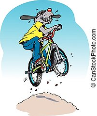 bike dog - A cartoon dog on a BMX bike taking a jump.