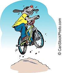 bike dog - A cartoon dog on a BMX bike taking a jump.