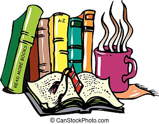 coffee n books - A quaint illustration of a cup of coffee...