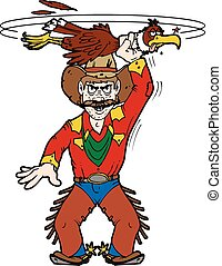 cowboy buzzard - A cowboy so tough he is swinging a pesky...