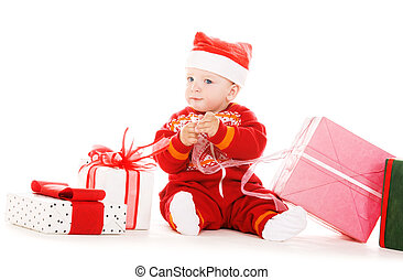 santa helper baby with christmas gifts over white