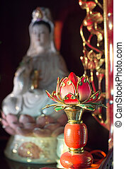 kuanyin and lotus statue