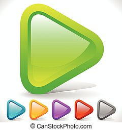 Rounded Play Buttons Eps 10 Vector Graphics Rounded Play...