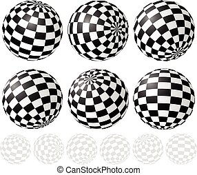 Checkered Sphere Set With Gradient Fills