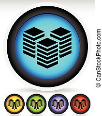 Icons with Layered Tower Symbols for Webhosting, Server,...