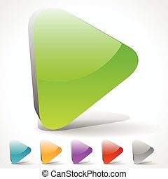 3D Play Buttons with Vivid Colors or Generic Arrow Pointing...