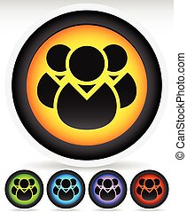 Icon with Character Symbol Icon with Group of 3 People for...