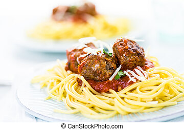 Meatballs - Homemade Italian meatballs garnished with...