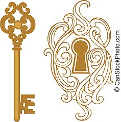 Gold keyhole Clipart Vector Graphics. 375 Gold keyhole EPS ...