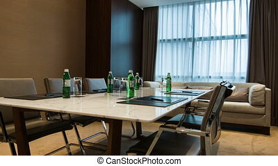 Interior of meeting room in hotel - Ready for meeting Moving...