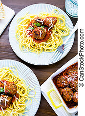 Meatballs - Homemade Italian meatballs garnished with...
