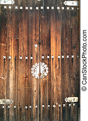 Old wooden door of a house in Korea