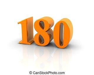 number 180 - orange metallic number 180 on white...