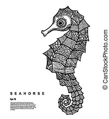 Vector Tribal Seahorse illustration - Grapchic Vector Tribal...