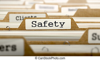 Safety on Folder Register of Card Index Selective Focus