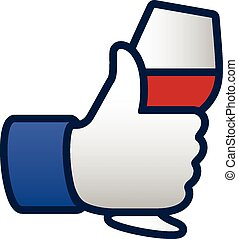 Like thumbs up symbol icon with glass of red wine