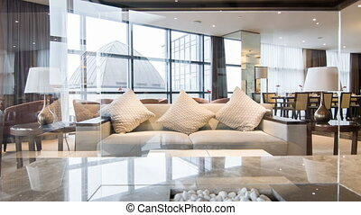 Interior of nice meeting room in hotel - Luxury hotel lobby....