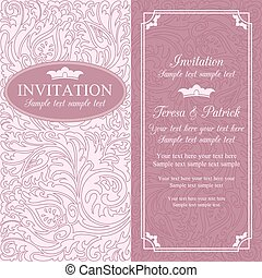 Baroque wedding invitation, pink