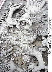 dragón, bajorrelieve, chino, templo