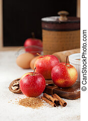 Apples and baking ingredients