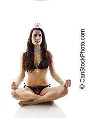 Beautiful girl in lotus position. - Beautiful girl sitting...