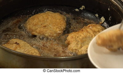 Fried Meat Making With Raw Ingredients.