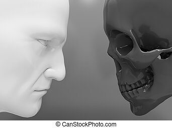 Confrontation Life and death - A man and a skeleton confront...