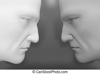 Confrontation - The two men confront each other