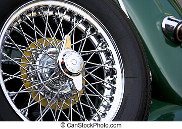Vintage Car Spare Wheel - Image of a vintage car spare...