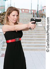 Female Detective - Beautiful police detective woman on the...