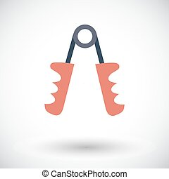 Hand expander icon. - Hand expander. Single flat icon on...