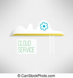 Cloud service icon with a ladder Network technology in...