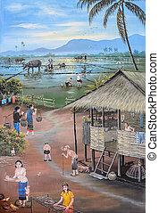 Thai mural painting art - Thai mural painting of Thai people...