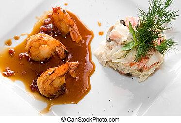 Closeup of tasty gourmet Shrimps