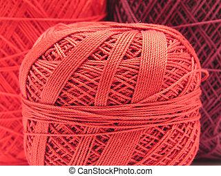 lã,  close-up, Bolas, vermelho, vista