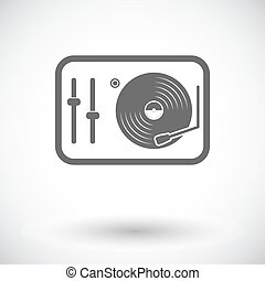 Turntable. Single flat icon on white background. Vector...