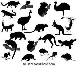 Animals of Australia - Collection of silhouettes of animals...