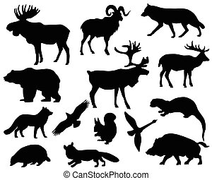 Animals of Europe - Collection of silhouettes of animals...