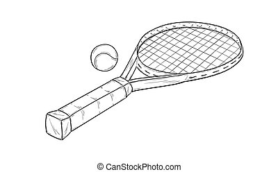 tennis racquet - sketch of the tennis racquet and ball,...