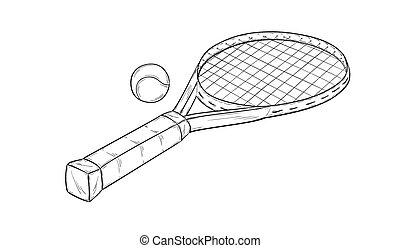 tennis racquet - sketch of the tennis racquet and ball,...