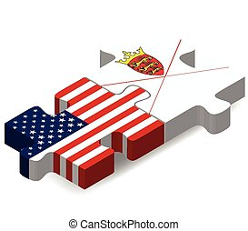 USA and Bailiwick of Jersey Flags in puzzle - Vector Image -...