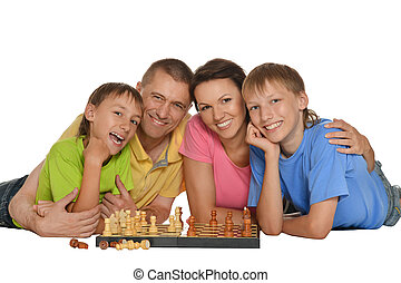 family playing chess - Happy family playing chess isolated...