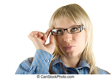 Business woman with glasses - Beauty Blond Business woman...