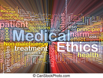 Medical ethics background concept wordcloud glowing