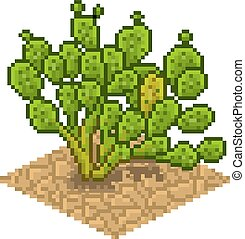 Opuntia ficus indica Vector isolated illustration in pixel...