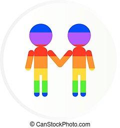 Gay men couple stick figures - Gay men couple vector round...