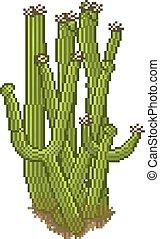 cactus in pixel art style - Vector cactus in pixel art style...