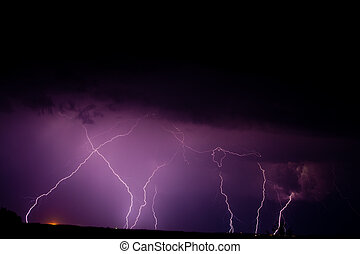 thunderbolt - nature series: night thunderstorm with...