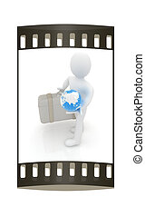 Leather suitcase for travel with 3d man and earth. The film strip