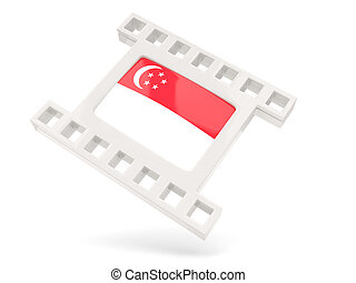 Movie icon with flag of singapore isolated on white